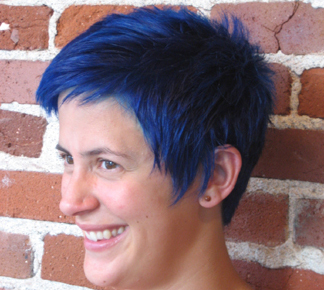 Bright Blue Short Pixie Hair Cut