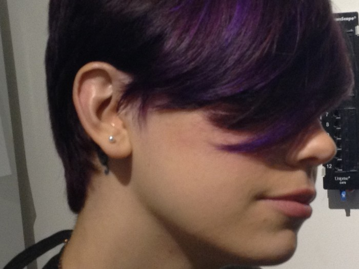 Cool Short Haircut with Purple Highlights