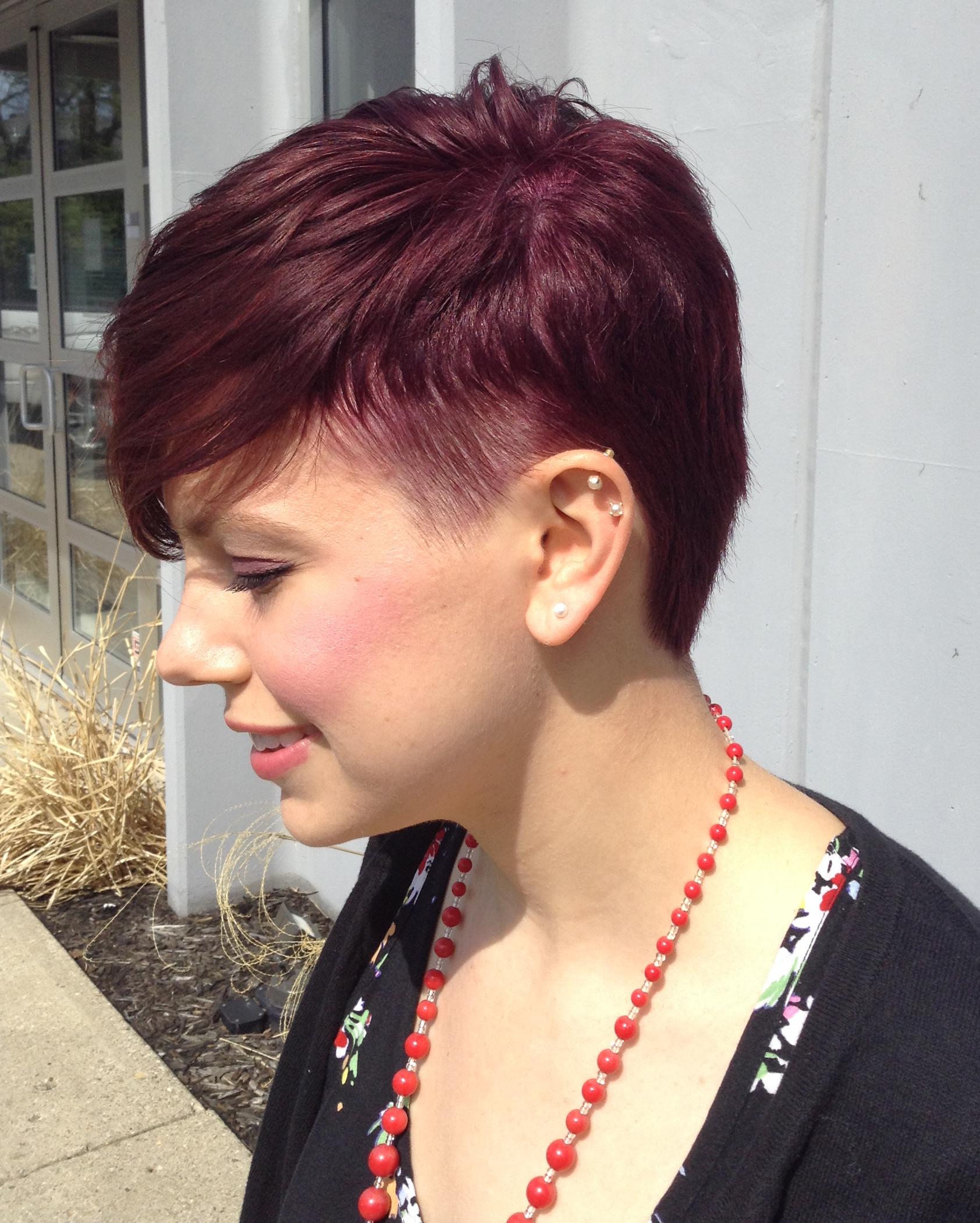 Cool Short Haircut With Purple Highlights Indianapolis Hair Salon